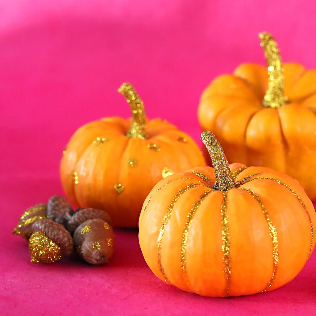 DIY Gold Glitter Acorns and Pumpkins