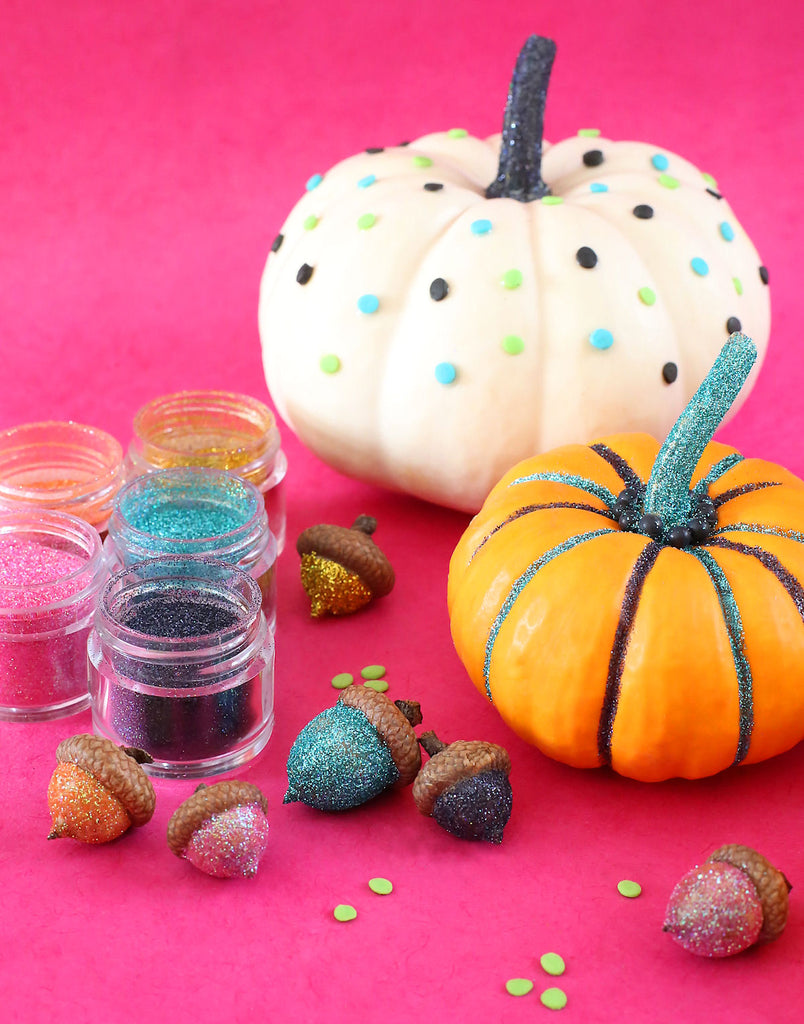 Decorating Pumpkins with Sprinkles and Glitter