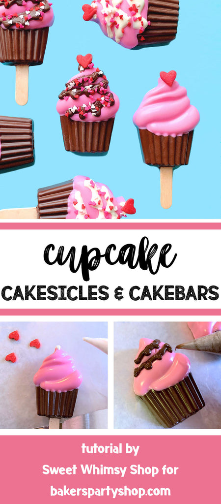 Cupcake Cakesicles & Cakebars Tutorial | Sweet Whimsy Shop for bakerspartyshop.com