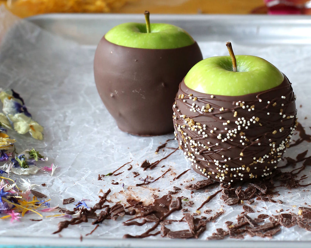 elegant chocolate covered apples and pears