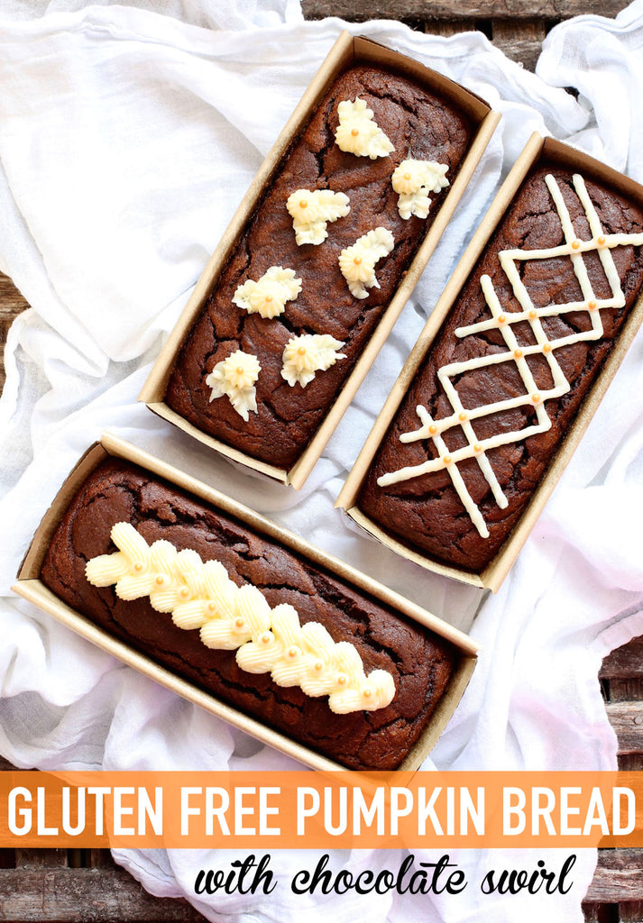 Gluten Free Pumpkin Bread with Chocolate Swirl | www.bakerspartyshop.com