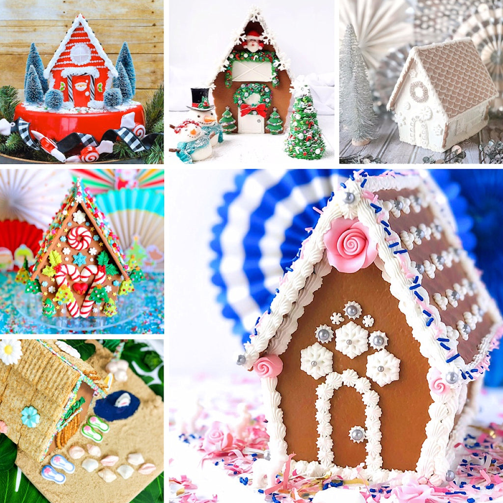 Gingerbread House Decorating Ideas using Ginger Snap Reusable Gingerbread House Kit | www.bakerspartyshop.com