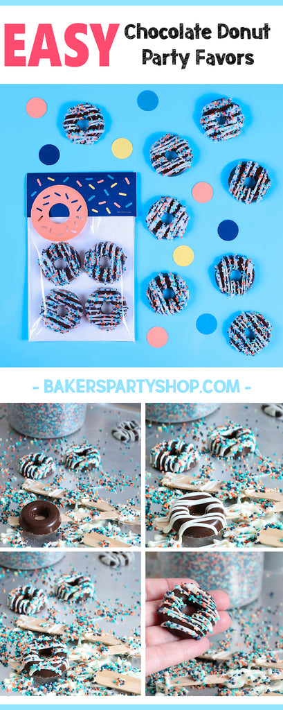 Chocolate Donut Party Favors | www.bakerspartyshop.com