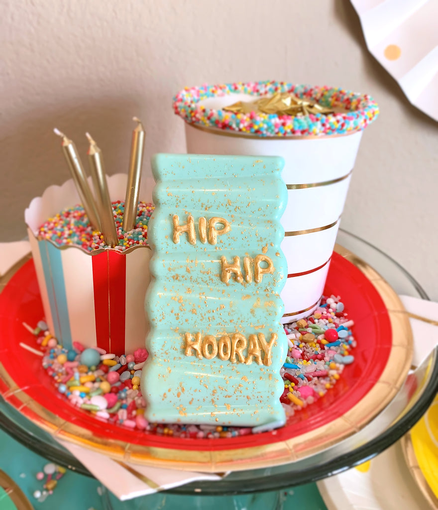 Hip Hip Hooray Cakesicles Tutorial | www.bakerspartyshop.com