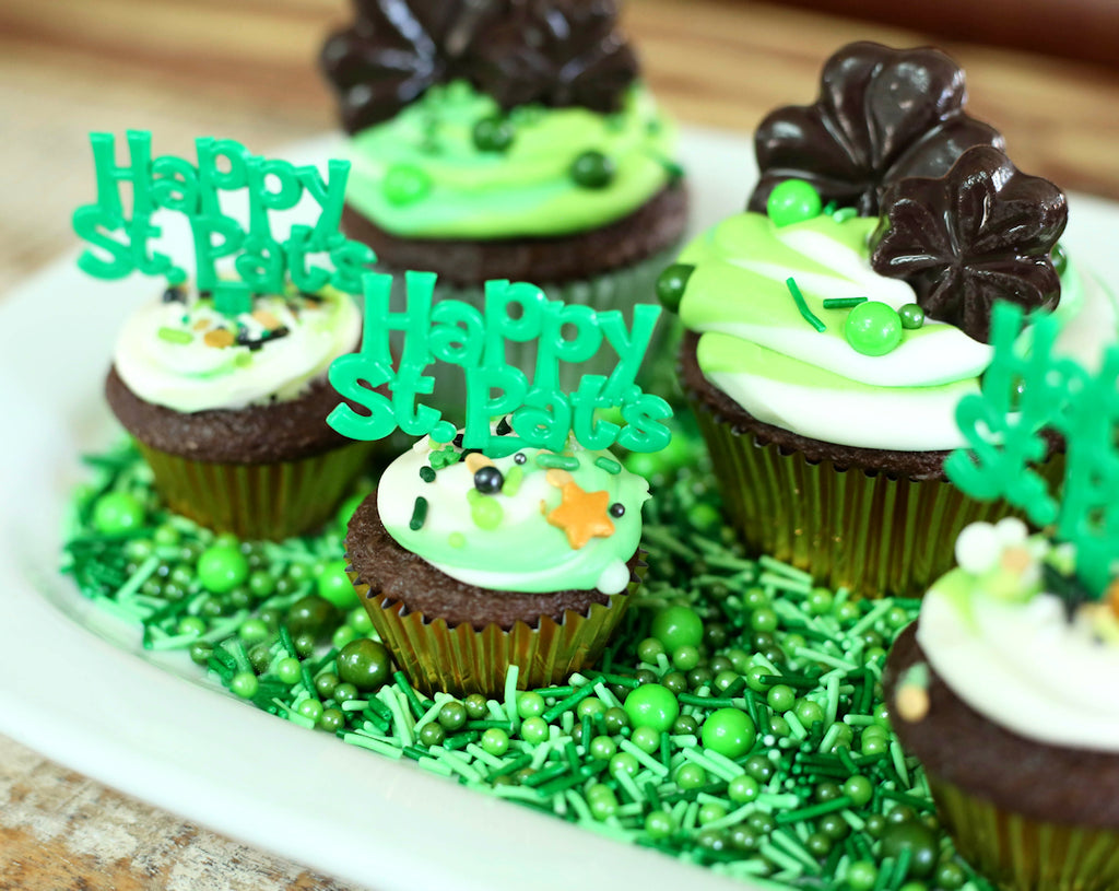 Sprinkle Filled Shamrock Cupcakes Tutorial on Bakers Party Shop's Blog | www.bakerspartyshop.com