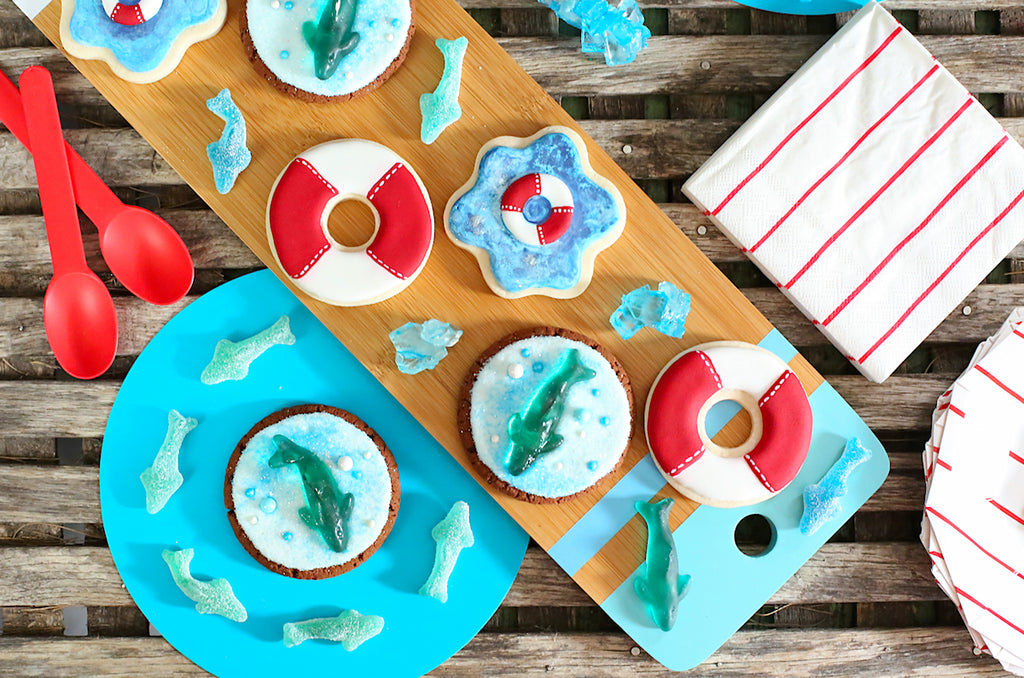 Shark Cookie Decorating Tutorial | www.bakerspartyshop.com