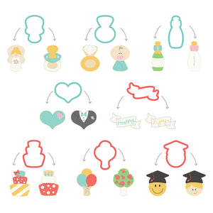 Sweet Sugarbelle Life Events Cookie Cutter Set | www.bakerspartyshop.com