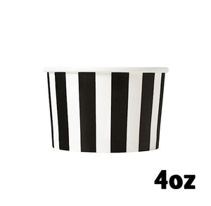 Small Black Ice Cream Cups: Stripe | www.bakerspartyshop.com