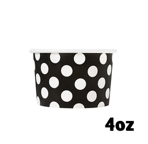 Small Black Ice Cream Cups: Polka Dot | www.bakerspartyshop.com