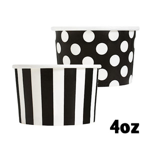 Small Black Ice Cream Cups: Polka Dots + Stripes | www.bakerspartyshop.com