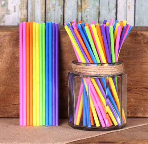 "Bright Rainbow Lollipop Sticks (6"") 