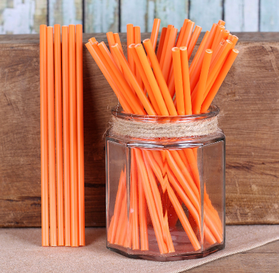 "Orange Lollipop Sticks (6"") 