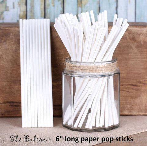 "White Paper Lollipop Sticks (6"") 