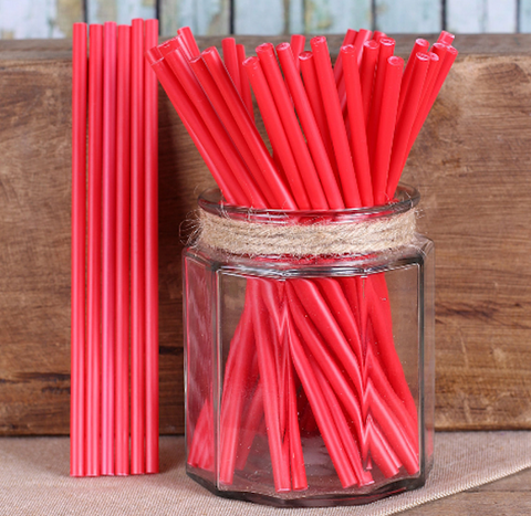 "Red Lollipop Sticks (6"") 
