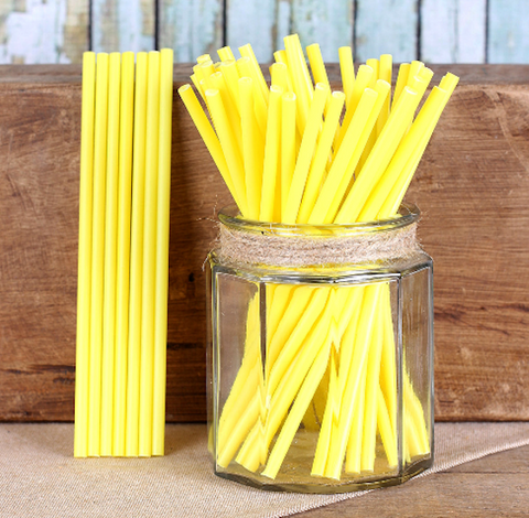 "Yellow Lollipop Sticks (6"") 
