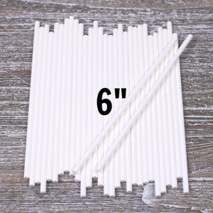 White Paper Lollipop Sticks: 6"