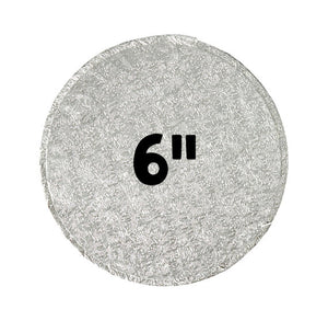 6 Inch Cake Boards: Thick Silver | www.bakerspartyshop.com