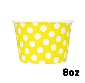 Large Yellow Ice Cream Cups: Polka Dot | www.bakerspartyshop.com