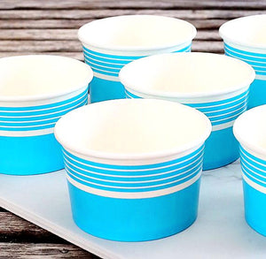 Striped Blue Ice Cream Cups | www.bakerspartyshop.com