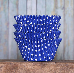 Jumbo Royal Blue Cupcake Liners: Polka Dot | www.bakerspartyshop.com