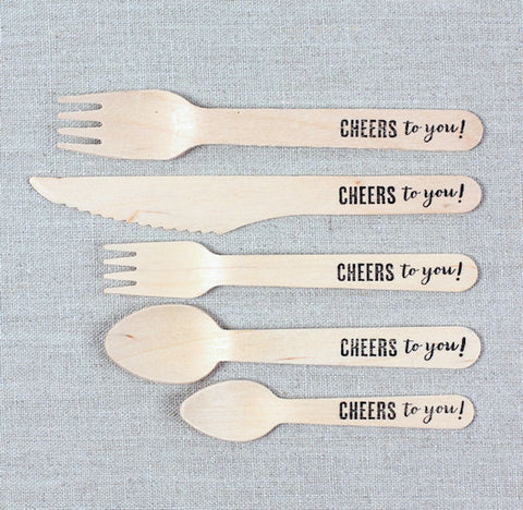 "Stamped Wooden Utensils: ""Cheers to you!"" 