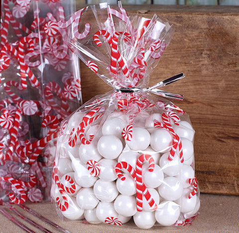 Candy Cane Cellophane Bags & Twist Ties: Small | www.bakerspartyshop.com