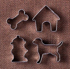 Mini Dog Cookie Cutters: Dog, Hydrant, Bone & Dog House | www.bakerspartyshop.com