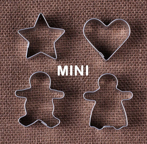 Mini Christmas Cookie Cutters: Gingerbread People, Heart & Star | www.bakerspartyshop.com