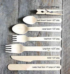 "Wedding Wooden Utensil Set with Forks, Knives, Spoons with ""all you need is love"" (Setting for 12) 