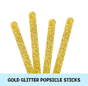 Acrylic Popsicle Sticks: Gold Glitter | www.bakerspartyshop.com