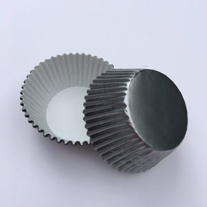 Foil Gray Cupcake Liners | www.bakerspartyshop.com