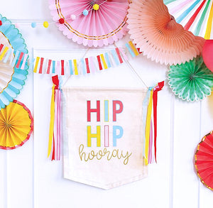Hip Hip Hooray Canvas Banner | www.bakerspartyshop.com