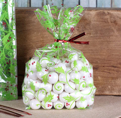 Holly Berries Cellophane Bags & Twist Ties: Small | www.bakerspartyshop.com