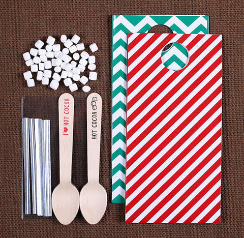 Christmas Hot Cocoa Spoon Kit: Stripe & Chevron | www.bakerspartyshop.com