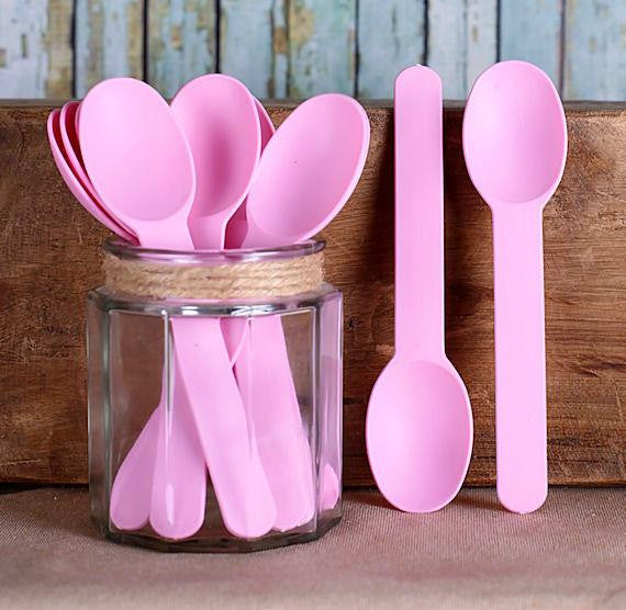 Reusable Ice Cream Spoons Light Pink | .bakerspartyshop.com & PLASTIC SPOONS - Bakers Party Shop