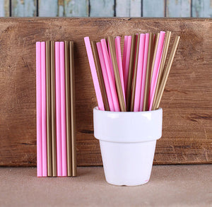 "Pink & Gold Lollipop Sticks (4 1/2"") 