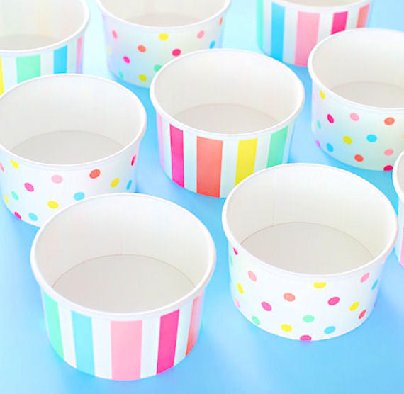 Party Pastel Rainbow Ice Cream Cups Polka Dot Paper Ice