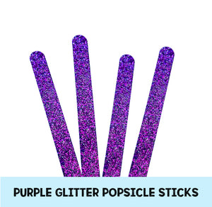 Acrylic Popsicle Sticks: Purple Glitter | www.bakerspartyshop.com