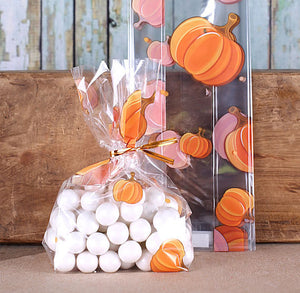 Pumpkin Cellophane Bags & Twist Ties: Small | www.bakerspartyshop.com