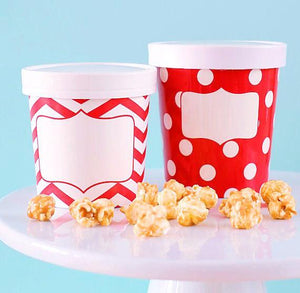 Large Ice Cream Containers: Red Polka Dot | www.bakerspartyshop.com