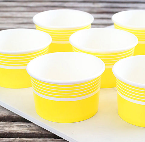 Striped Yellow Ice Cream Cups | www.bakerspartyshop.com