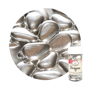 Almond Shaped Silver Dragees | www.bakerspartyshop.com