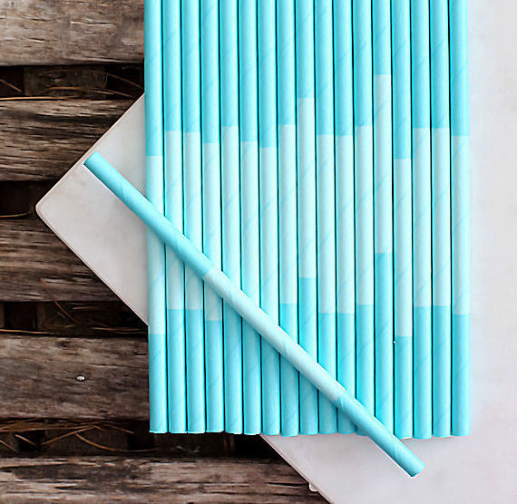 Aqua Paper Cocktail Straws: Two Tone | www.bakerspartyshop.com