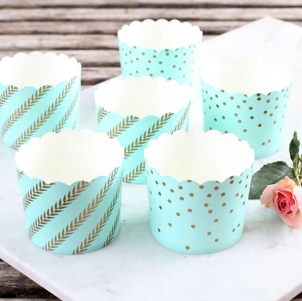 Large Light Aqua & Gold Baking Cups | www.bakerspartyshop.com