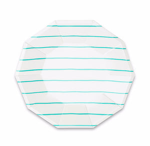 Striped Small Aqua Plates | www.bakerspartyshop.com