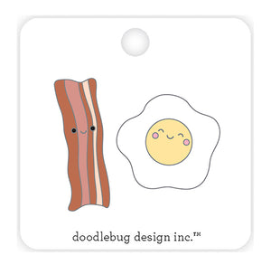 Eggs and Bacon Enamel Pin | www.bakerspartyshop.com