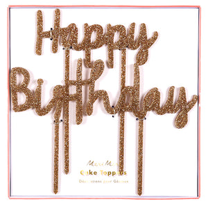 Happy Birthday Cake Topper: Gold Glitter | www.bakerspartyshop.com