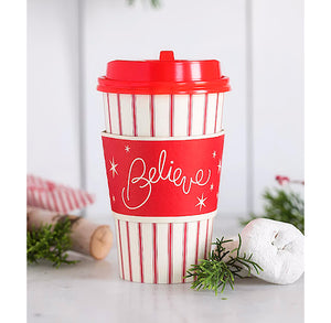 Christmas Travel Coffee Cups: Believe | www.bakerspartyshop.com