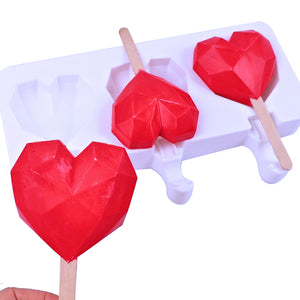 3 Cavity Geometric Heart Cakesicle Mold