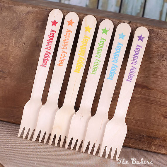 Small Happy Rainbow Wooden Forks: Happy Birthday | www.bakerspartyshop.com